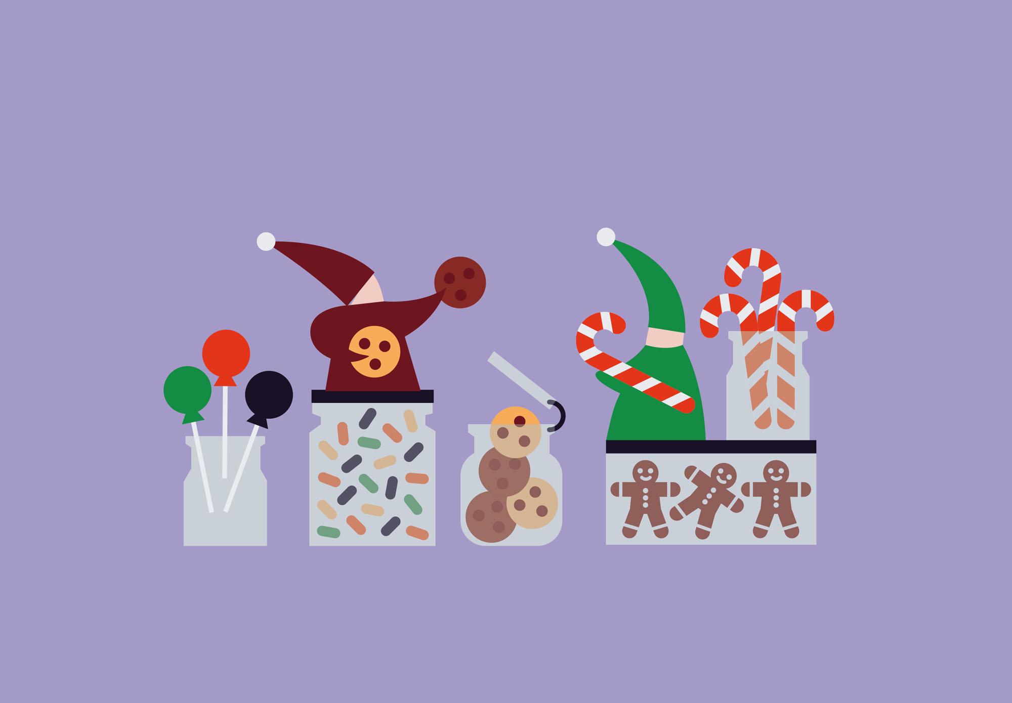 Fêtes Noël - lutins et sucres d'orges