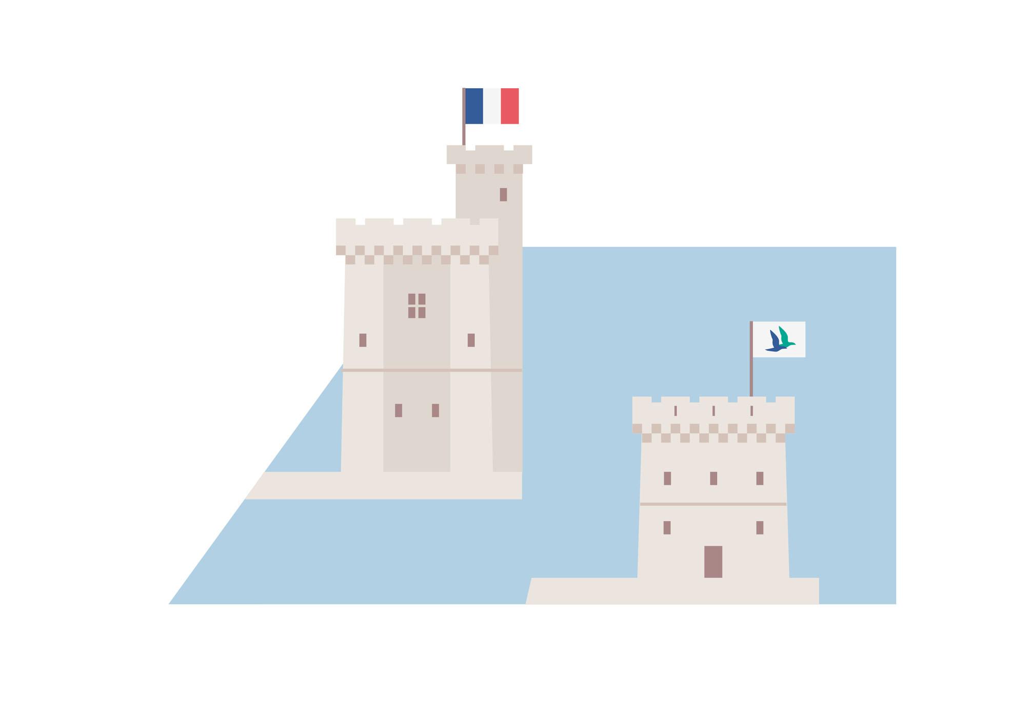 La Rochelle - carte de la ville - tour Saint Nicolas et la tour de la Chaîne