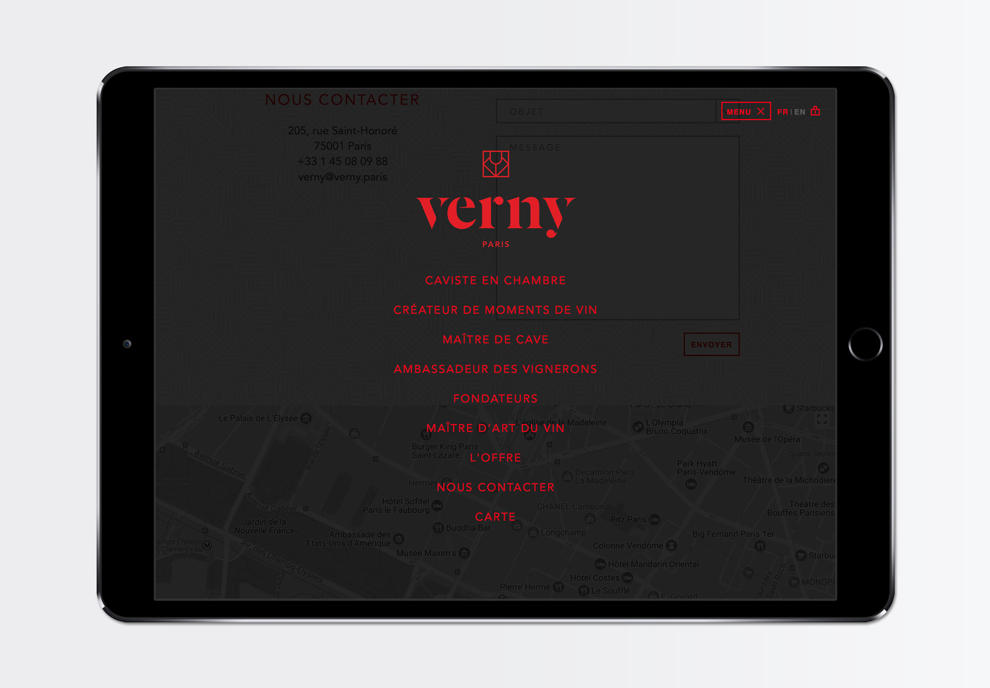 Verny Paris - site internet - menu - caviste