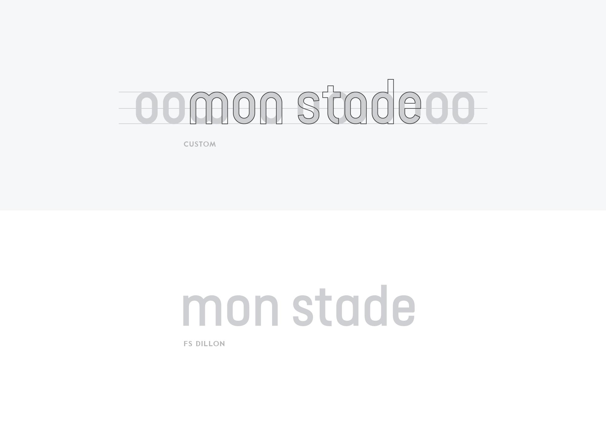 mon stade identité visuelle typographie custom