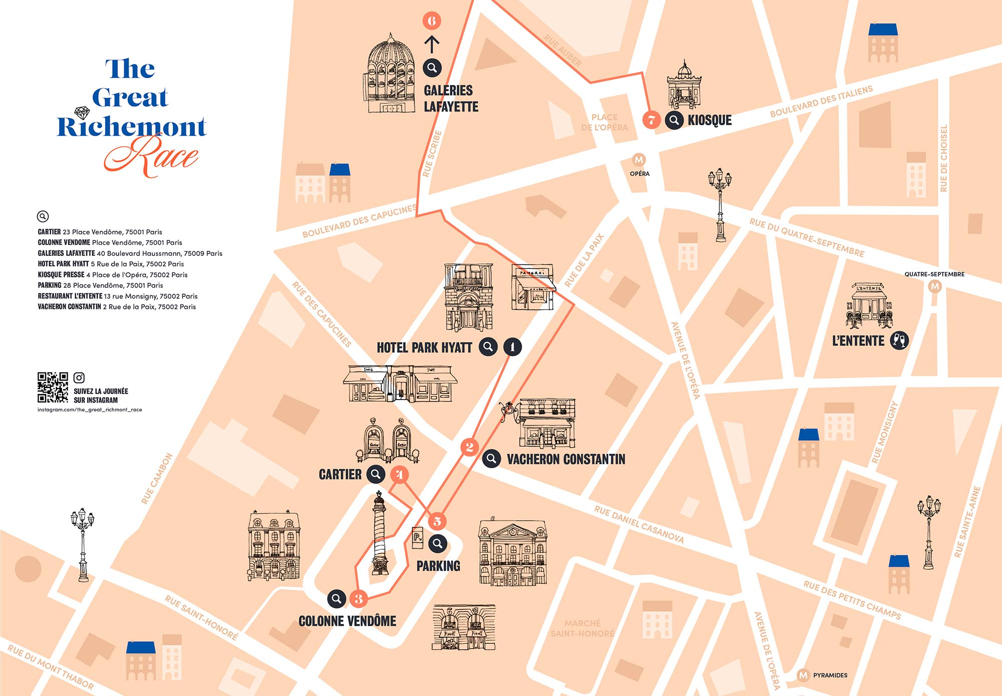 Financial Times - The Great Richmont Race - illustration carte Paris
